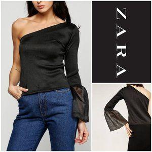 ZARA Stunning One Shouldered Bell Sleeve Top